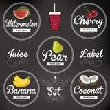 Fruit juice. Detailed Vector label set Royalty Free Stock Image