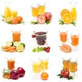 Fruit juice and fresh fruits Royalty Free Stock Photos