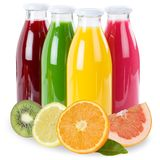 Fruit juice fruits in a bottle isolated on white Stock Images