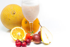 Fruit juice and fruits Royalty Free Stock Photos