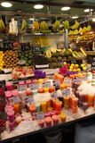 Fruit juice and fruits at market,Barcelona Stock Photography