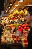 Fruit juice and fruits at market,Barcelona Stock Image