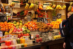 Fruit juice and fruits at market,Barcelona Stock Images