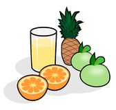 Fruit and Juice Glass. Apples, oranges, pineapple and a glass of juice Royalty Free Stock Photos