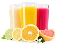 Fruit juice in glass fruits isolated on white. Fruit juice in glass fruits isolated on a white background stock photo