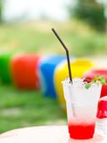 Fruit Juice in a glass with ice. Royalty Free Stock Photography