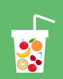 Fruit juice. Healthy lifestyle. A glass of fruit. Vector illustration Stock Image