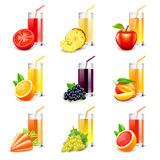Fruit juice icons vector set. Fruit juice icons detailed photo realistic vector set vector illustration