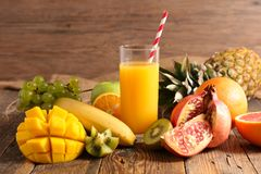 Fruit juice and ingredient Royalty Free Stock Photo