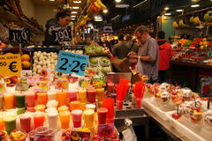 Fruit juice at market,Barcelona Stock Image