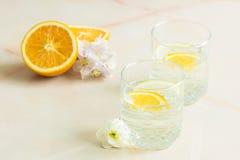 Fruit juice with mint sliced lemon and orange. A refreshing fruit juice with sliced lemon and orange, mint on a light background Stock Photos