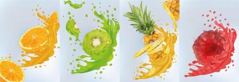 Fruit juice, pineapple, kiwi, orange, raspberry. Fresh fruits. Fruit splashes close up. Vector illustration. Fruit juice, pineapple, kiwi, orange, raspberry royalty free illustration