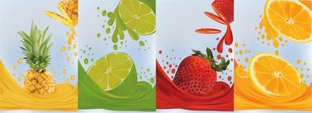 Fruit juice, pineapple, lime, orange, strawberry. Fresh fruits. Fruit splashes close up. 3d vector illustration. Fruit juice, pineapple, lime, orange royalty free illustration