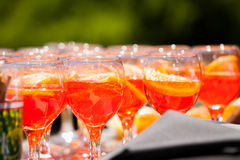 Fruit juice. Poured into glasses Royalty Free Stock Photography