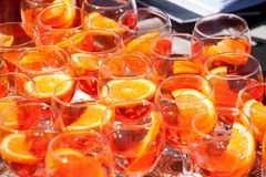 Fruit juice. Poured into glasses Royalty Free Stock Photos