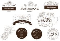 Fruit Juice and Punch Logo and Icon Vector Illustration. For food and beverages industry logo, banner, social media profile picture and other purpose print on royalty free illustration