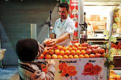Fruit Juice Seller, ISTANBUL, TURKEY royalty free stock photography