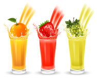 Fruit juice set. Set of fruit juice with splash in a glass. Orange, strawberry and vine. Vector illustration Stock Photos