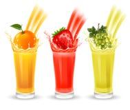 Fruit juice set Stock Photos