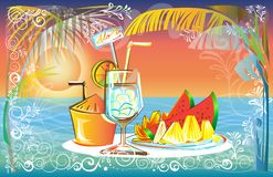 Fruit juice set in Sunset at the Sea beach landscape of nature d Stock Photography