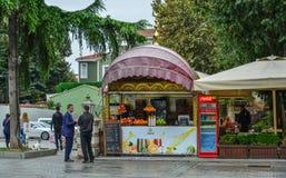 Fruit juice shop on street in Istanbul, Turkey royalty free stock image