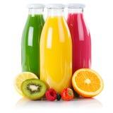 Fruit juice smoothie fruits smoothies in bottle square isolated. On white royalty free stock image