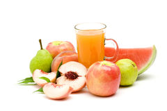 Fruit juice and some fresh fruits Royalty Free Stock Image