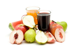 Fruit juice and some fresh fruits Royalty Free Stock Photography