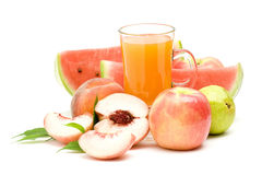Fruit juice and some fresh fruits Stock Photography