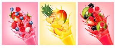 Fruit in juice splashes. Strawberry, guava. Royalty Free Stock Image