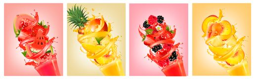 Fruit in juice splashes. Strawberry, guava. Royalty Free Stock Photo