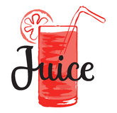 Fruit Juice sticker in watercolor style Stock Photos
