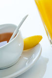Fruit juice and tea. Royalty Free Stock Images