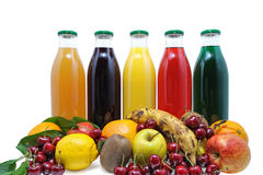 Fruit juice two. Fresh fruit juices and natural Stock Images