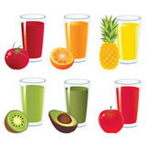 Fruit juice vector. Vector of 6 glasses of fruit juice Stock Illustration