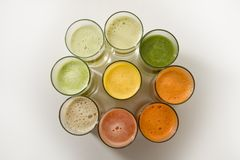 Fruit juices. Nine various kinds of fresh juice Stock Photo