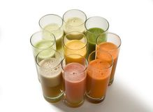 Fruit juices. Nine various kinds of fresh juice Royalty Free Stock Photos