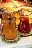 Fruit juices breakfast hotel Stock Photos