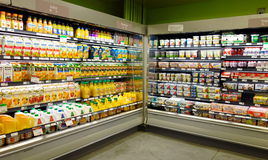 Fruit Juices and Dairy Products Stock Photos