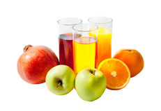 Fruit juices. And fruits isolated on white stock image