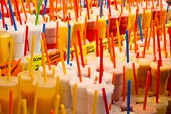 Fruit juices at La Boqueria Market Stock Photography