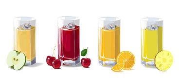 Fruit juices. A set of glasses with fruit juice, apple, cherry, Royalty Free Stock Photos