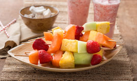Fruit Kabobs and Strawberry Smoothies Royalty Free Stock Photo