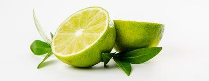 fruit Kalk en groene muntbladeren Stock Afbeeldingen