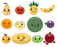 Fruit kawaii characters Royalty Free Stock Images