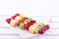 Fruit kebab Stock Image