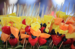 Fruit Kebabs Stock Photos