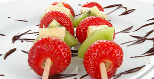Fruit Kebabs And Chocolate Royalty Free Stock Photography