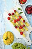 Fruit kebabs. Top view royalty free stock photography
