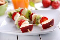 Fruit kebabs Royalty Free Stock Images